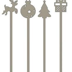 touillette renne v1.jpg Download STL file Christmas stirrers / stirrers x4 • 3D printing object, dodey_57