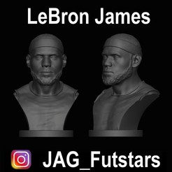 LeBron James.jpg Download STL file LeBron James - Lakers - Bust • 3D printable design, jagfutstars