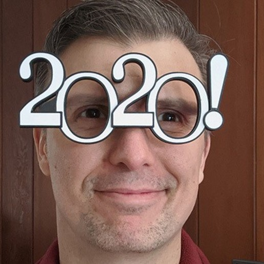 Download free 3D printing templates 2020 Silly New Year Glasses with dual extruder option, 3dimka