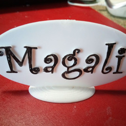Download free 3D printing models BUBBLE-SHAPED LABEL BD. FOR MAGALI DECORATION, papounet1951