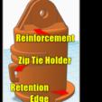 Barrel Mount Elongated.png Download free STL file Garmin Varia RTL510 Bike Mount Cargo Rack Go Pro v1.2 • 3D printing model, Phoenix125