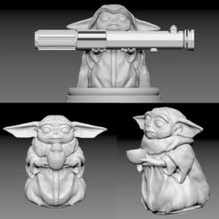 Télécharger modèle 3D Pack Bébé Yoda 3x (avec bol, avec porg, jedi), pierrevdl