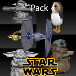 Télécharger modèle 3D Pack Star wars: baby Yoda Jedi, Baby Yoda with porg, Baby Yoda with bowl, porg, TIE fighter , Baby Yoda ring, pierrevdl