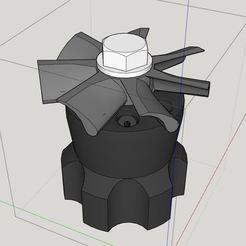 Télécharger fichier STL gratuit Tête d'arrosage à pales de ventilateur • Objet pour imprimante 3D, coppertop001
