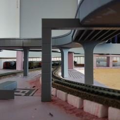 Impresiones 3D gratis Paso elevado de la autopista para coches de slot, coppertop001