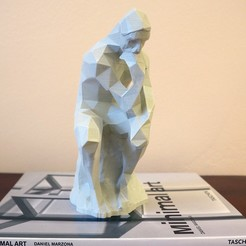 "the_thinker_00.jpg Download free STL file ""Auguste Rodin: The Thinker"" low poly • 3D printing template, the3darchprint"