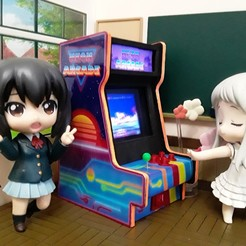 ArcadeNen - AnoHana.jpg Download STL file Miniature Figure Furniture - Neon Arcade Cabinet • 3D printable model, otakud