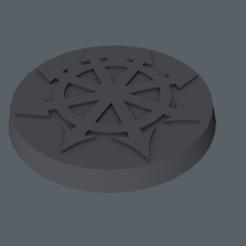 Download free 3D print files Warhammer 40K - base 32mm - Chaos mark, slawek0538