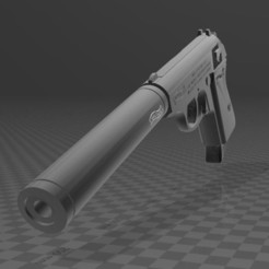 Download free 3D model Walther PPk with suppressor, Wij