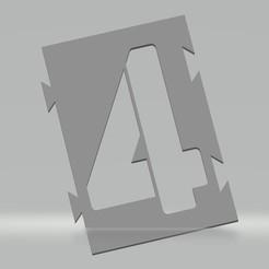 """4.jpg Télécharger fichier STL Pochoir chiffre """"4"""" pour peinture aérosol, pinceau, aérographe. • Modèle pour imprimante 3D, cedricpct1"""