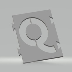 """Q.jpg Télécharger fichier STL Pochoir lettre """"Q"""" pour peinture aérosol, pinceau, aérographe. • Design à imprimer en 3D, cedricpct1"""