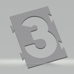"""3.jpg Télécharger fichier STL Pochoir chiffre """"3"""" pour peinture aérosol, pinceau, aérographe. • Modèle pour impression 3D, cedricpct1"""