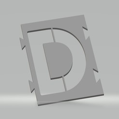 "D.jpg Download STL file Stencil letter ""D"" for spray paint, brush, airbrush. • 3D print template, cedricpct1"