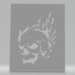 Pochoir crâne flammes.jpg Download STL file Stencil skull flames • 3D printable template, cedricpct1