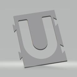 """U.jpg Télécharger fichier STL Pochoir lettre """"U"""" pour peinture aérosol, pinceau, aérographe. • Plan à imprimer en 3D, cedricpct1"""