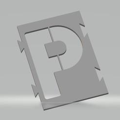 """P.jpg Télécharger fichier STL Pochoir lettre """"P"""" pour peinture aérosol, pinceau, aérographe. • Design imprimable en 3D, cedricpct1"""