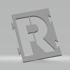 """R.jpg Télécharger fichier STL Pochoir lettre """"R"""" pour peinture aérosol, pinceau, aérographe. • Plan pour impression 3D, cedricpct1"""