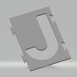 "J.jpg Download STL file Stencil letter ""J"" for spray paint, brush, airbrush. • 3D printer object, cedricpct1"
