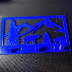 my design.jpg Download STL file Wall Mount Bear Key Ring Hook • 3D printing design, bmayo59