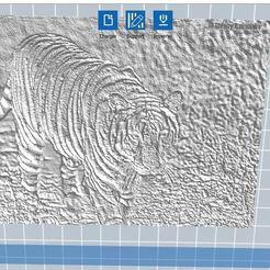 Télécharger plan imprimante 3D gatuit tigre en relief 3D, nicoco3D
