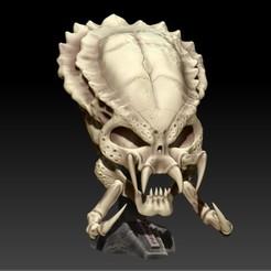 Descargar archivo 3D PREDATOR SKULL WITH BASE, SKULLHILL