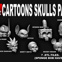 Download 3D print files CARTOON SKULL PACK, SKULLHILL