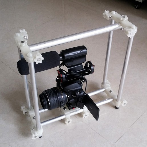 Download free STL DSLR Cage (15mm Rail) Remix- with Lasers!, SexyCyborg