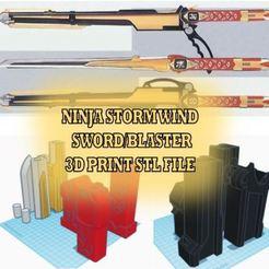 Ninja Storm Sword thumbnail.JPG Télécharger fichier STL Épée/vent de la tempête Ninja • Plan à imprimer en 3D, TAFKARDesign