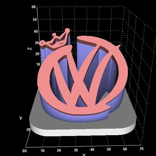 Download free 3D print files VW w/crown display, miranda77mr