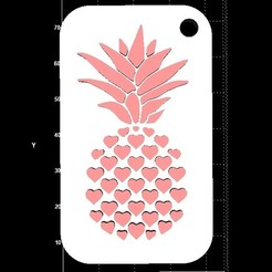 Download free STL files Pineapple w/hearts keyhanger, miranda77mr
