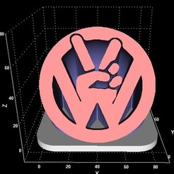 Peacecults.jpg Download STL file VW peace extrusion • 3D printer object, miranda77mr