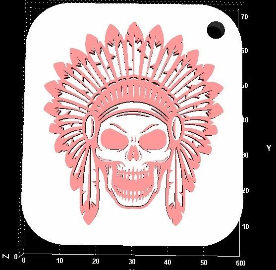 indian.jpg Télécharger fichier STL gratuit Porte-clés crâne indien • Plan pour imprimante 3D, miranda77mr