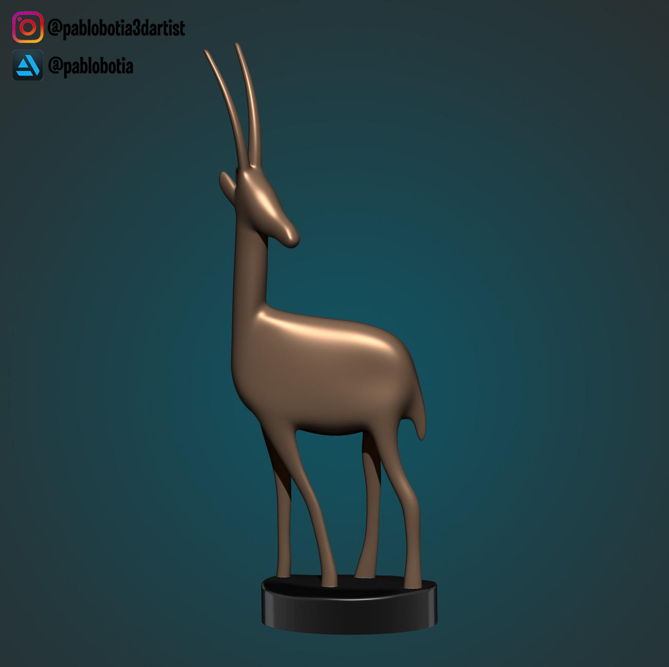 1.jpg Télécharger fichier STL gratuit Statue décorative d'une gazelle • Plan imprimable en 3D, pablobotia3dartist