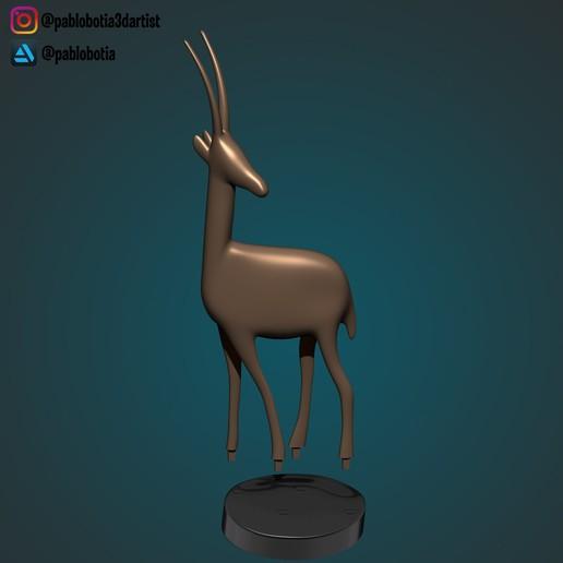 4.jpg Télécharger fichier STL gratuit Statue décorative d'une gazelle • Plan imprimable en 3D, pablobotia3dartist