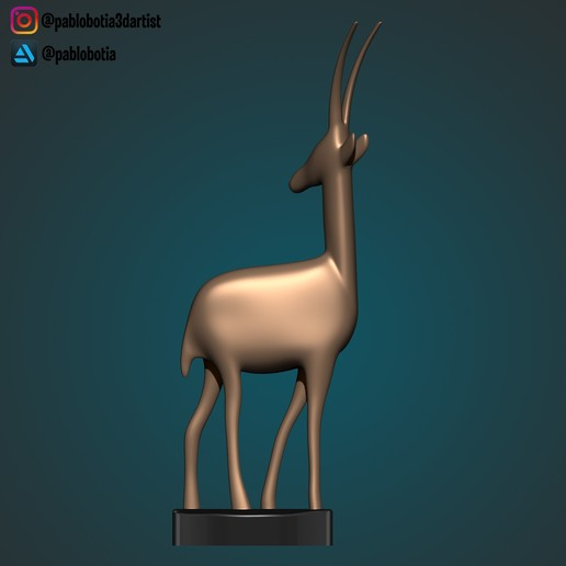3.jpg Télécharger fichier STL gratuit Statue décorative d'une gazelle • Plan imprimable en 3D, pablobotia3dartist