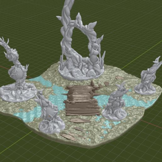 Swamp_Bridge3.png Download free STL file Swamp Terrain with Bridge • Template to 3D print, BellForged