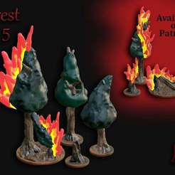 Forest_Set_5.jpg Download free STL file OpenFoliage Forest Set 5 - Burning Woods • 3D printable model, BellForged