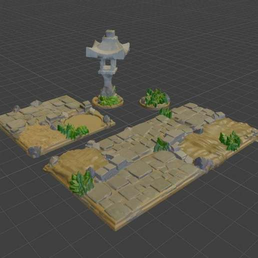 Temple_Path_Render.jpg Download free STL file OpenFoliage Temple Stone Path • 3D printer design, BellForged