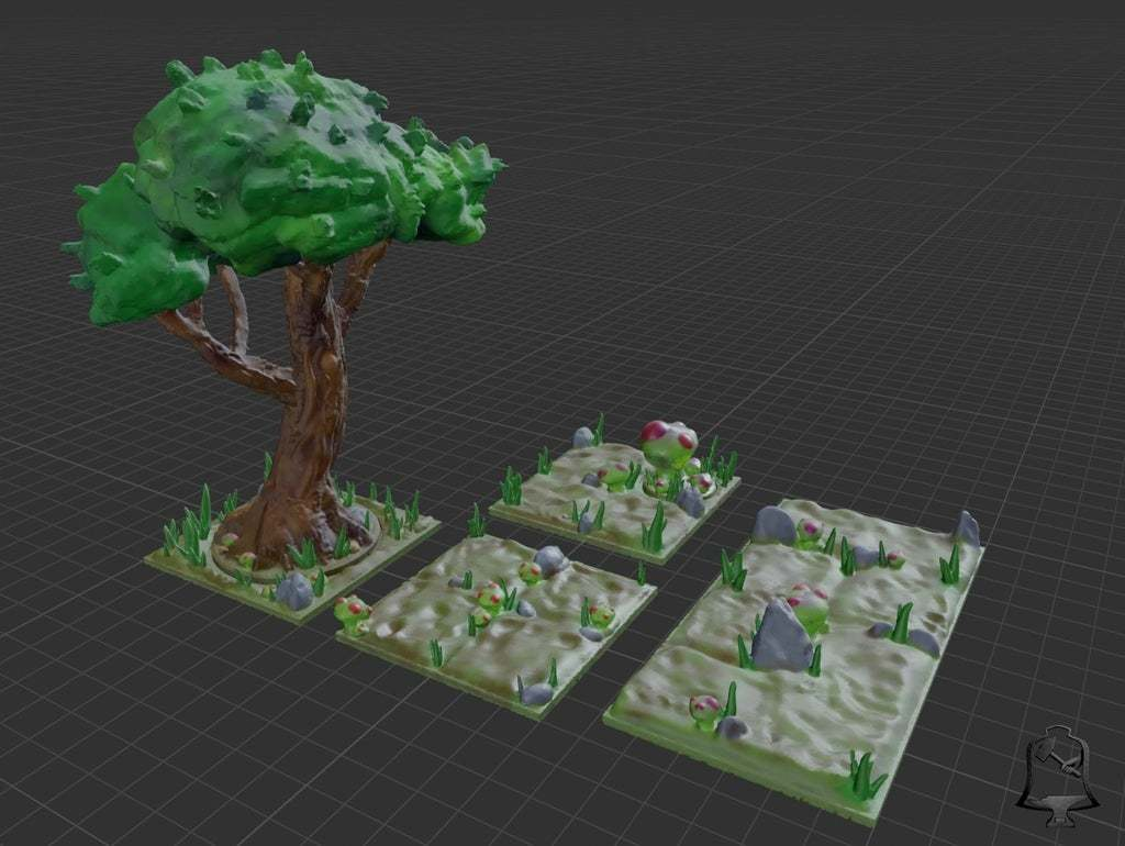 Deep_Forest_A_Textured.jpg Download free STL file Open Foliage - Deep Forest Set - Support Free • 3D printable model, BellForged