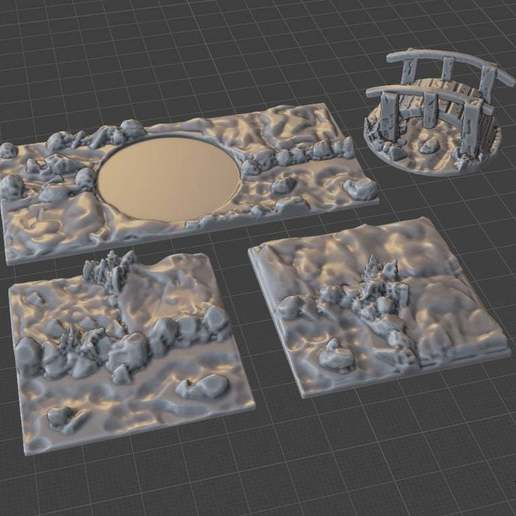 River_Path_1_Set.jpg Download free STL file OpenFoliage River Path Tile Set • 3D print model, BellForged