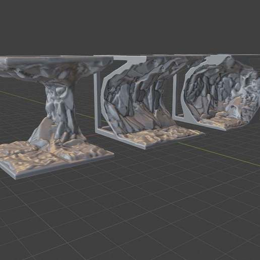 2x2_Rock_Overhang_Set_1.jpg Download free STL file OpenFoliage Cliff Overhangs/Caves • 3D printer template, BellForged