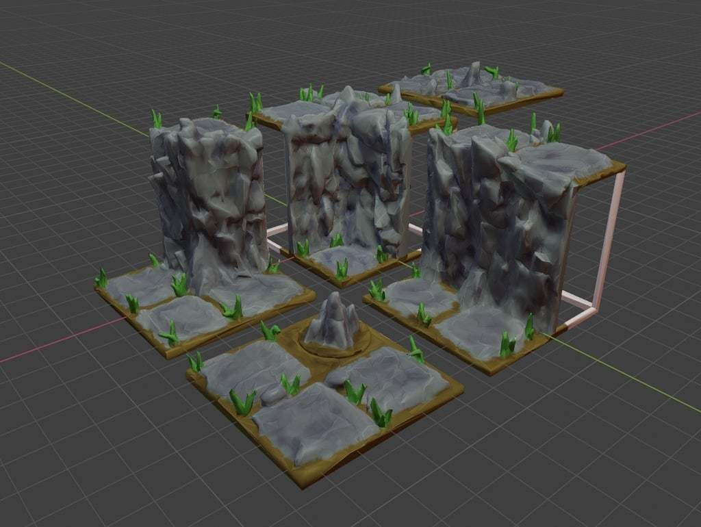 2x2_Cliff_Set.jpg Download free STL file OpenFoliage Cliff Set - Support Free Printing - Modular • 3D print design, BellForged