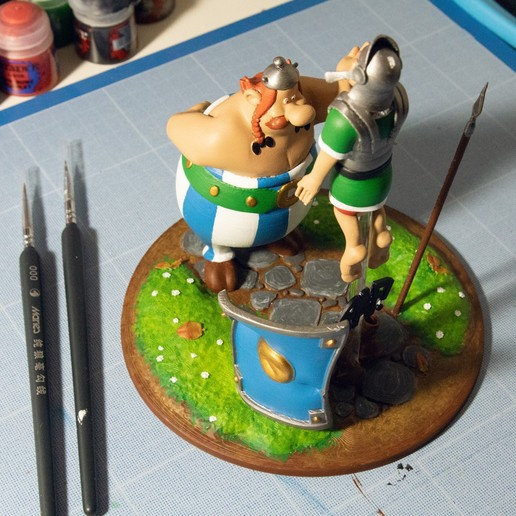 8.jpg Descargar archivo STL FANART - Obélix abofetea a un legionario romano - Diorama • Objeto para impresora 3D, foxgraph