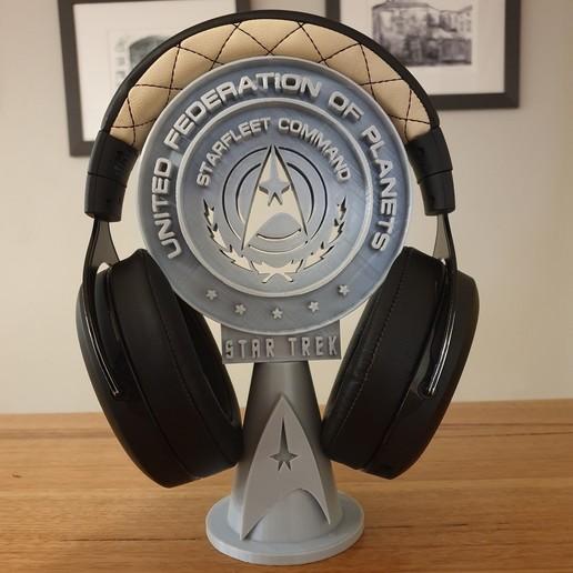 20200729_223058.jpg Télécharger fichier STL gratuit Support pour casque d'écoute Star Trek • Objet pour impression 3D, CheesmondN