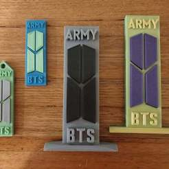 Download free 3D printing templates BTS Army two colour keyring and ornament, CheesmondN