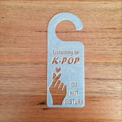 Download free 3D printing files KPop door handle sign do not disturb, CheesmondN
