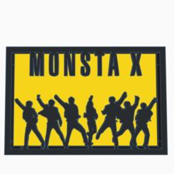 MonstaX.png Télécharger fichier STL gratuit Monsta X Silhouette Art • Design à imprimer en 3D, CheesmondN