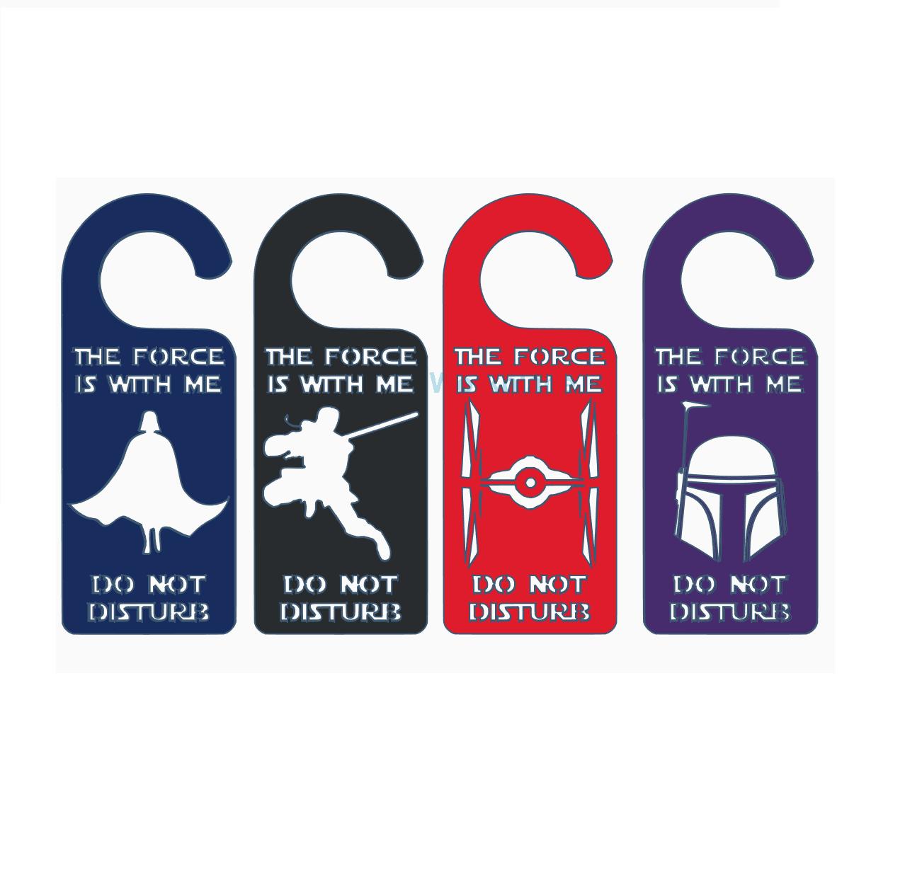 SW door hangers2.png Download free STL file Star Wars door handle signs do not disturb • Model to 3D print, CheesmondN