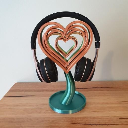 20200820_101954.jpg Télécharger fichier STL gratuit Support ou ornement pour casque d'écoute Love Hearts • Design pour imprimante 3D, CheesmondN