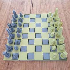 Download free 3D printing models Full size modular chess board and pieces, CheesmondN